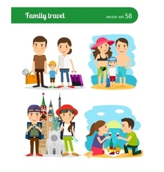 Family travel people vector