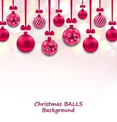 Christmas background with pink glassy balls with vector