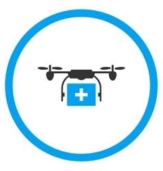 Medical drone shipment rounded icon vector