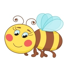 Cute cartoon bee funny ruddy bee flying vector