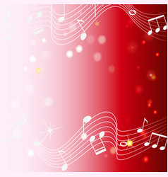 Background design with musicnotes on red vector
