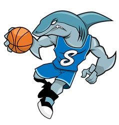 Basket ball mascot blue shark vector