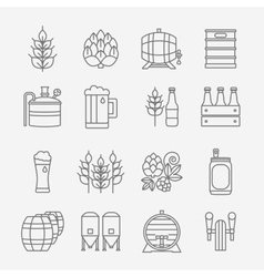 Beer and brewery line icons set vector