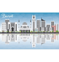 Beirut Skyline with Gray Buildings vector image vector image
