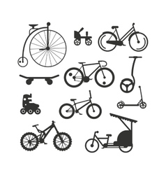 Bike black silhouette mountain ride vector image