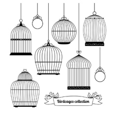 Birdcages silhouettes vector