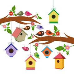 Birdhouse for spring vector