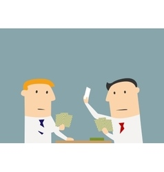 Businessmen playing cards in the office vector