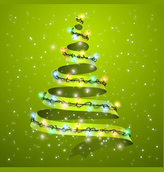 Christmas tree ribbon on background glowing vector