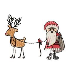 Color crayon stripe cartoon of funny santa claus vector