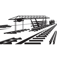Construction of railway track vector image vector image