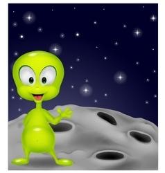 Cute green alien waving hand vector image vector image
