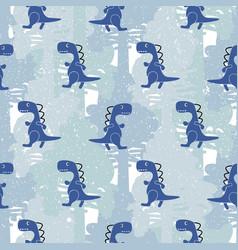 Dino blue color boy seamless pattern vector