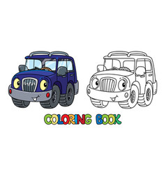 Funny offroader with eyes coloring book vector