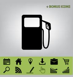 Gas pump sign black icon at gray vector