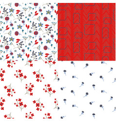 Glade filed small flowers and abstract red vector