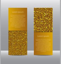 Golden sequins banners card brochure probe vector