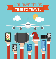 holidays tours time totravel design flat vector image vector image