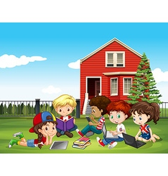 Internatinal children studying outside classroom vector