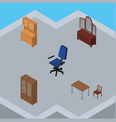 Isometric furnishing set of drawer office chair vector