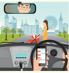 man using smartphone while driving the car when vector image vector image