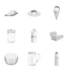 Milk product and sweet set icons in monochrome vector image vector image