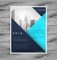 Modern minimal brochure flyer template in blue vector