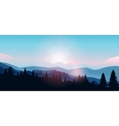 Mountain landscape at sunset and dawn vector