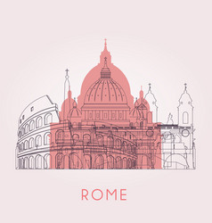 Outline rome skyline with landmarks vector