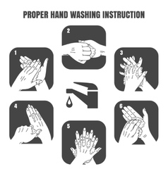 Proper hand washing instruction black icons vector image