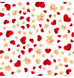 seamless pattern with hearts and bears vector image vector image