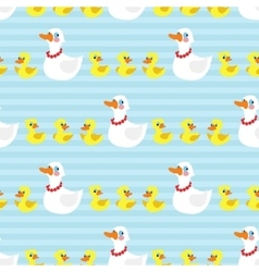 Seamless pattern with mother duck and ducklings on vector image