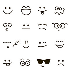 set of emotional hand drawn faces vector image vector image