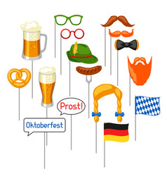 Set of oktoberfest photo booth props accessories vector