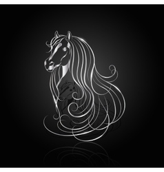 Silver abstract horse vector