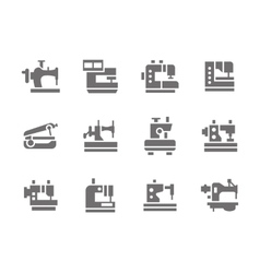 Simple glyph sewing machines icons set vector image