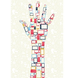 Social media gadgets icons in hand shape concept vector image