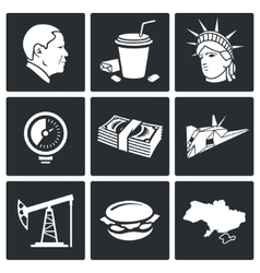 Usa policy icons set vector