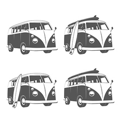 Vintage camper bus van with surfboards vector image vector image