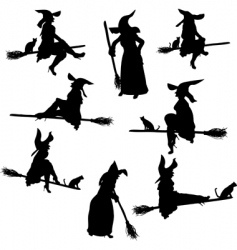 Witch silhouettes vector