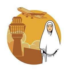 Women Hajj And Airport Background vector image vector image