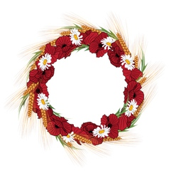 wreath of poppies daisies and vector image