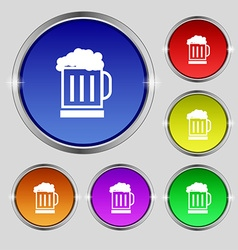 Beer glass icon sign round symbol on bright vector