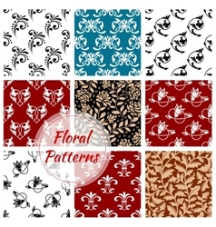 Floral seamless patterns set Flowery background vector image