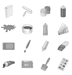 Painter tools icons set monochrome style vector