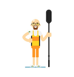 Smiling canoe rowing sportsman with paddle vector