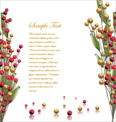 Red and gold berries background vector