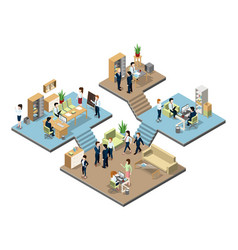 Business center with people at work in offices vector