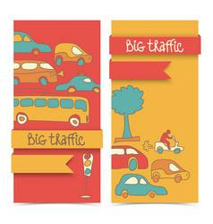 Transportation doodle banner set vector