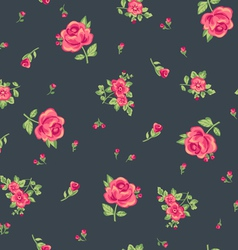 Ditsy red roses print vector